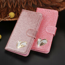Luxury Magnetic Bling Glitter Leather Flip Case Wallet Cover For Samsung Phone