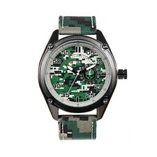 P10 Auc Curren 8183 Chronograph Style Nylon Strap Military Watch for Men, Green