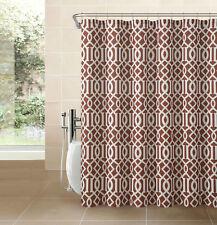 Cinnamon Rust Fabric Shower Curtain: White Imperial Trellis Design Print