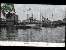 MESSINA (ITALIE) BATEAU FERRY & VOILIERS au PORT en 1908