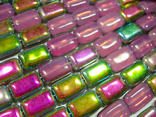 24 Czech Glass Pink Opal Vitrail Rectangle beads 8x12mm