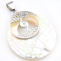Tree of Life Huge Genuine Handmade White Abalone Shell Silver Necklace Pendants