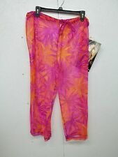 NWT Carol Wior Netting Swimsuit Cover Up Capri Pants-M-Purple-Orange-Yellow