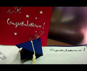 Congratulation Graduation Cap 3D Pop Up Handmade Origami Greeting Card