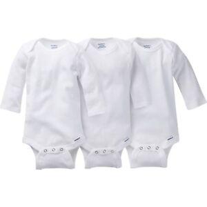 Gerber Long Sleeve Onesies Bodysuit White One Piece Snap ~ 12 Month ~ 3 Pack