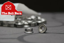 (100) 1/4-20 Stainless Steel Serrated Hex Flange Nuts Flange Locknuts