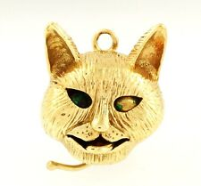 9Carat Yellow Gold Movable Cat Charm (15x18mm) Enamel Eyes