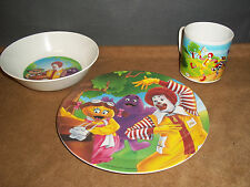 Vintage McDonald's Place Setting Plate, Bowl, & Cup Recycle  Made in USA