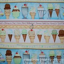 BonEful Fabric FQ Cotton Quilt ICE CREAM Cone Milk Shake Dish Lg Border Birthday