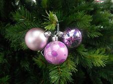 5 Tris (15) di sfere / palle / palline di Natale ★ in PVC lilla decorate cm. 6
