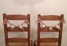 MR & MRS Hessian Mini Chair Bunting - Rustic Vintage Wedding Banner Burlap