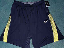 NWT Mens Nike L Navy Blue/Yellow/Gray Dri-Fit Stay Cool Shorts Large