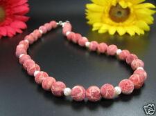unpolierte Coral Esponja Collar con perlas de Agua Dulce