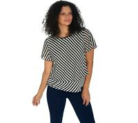 Vince Camuto Flutter Sleeve Simple Stripe Layered Blouse Rich Black Plus Size 1X