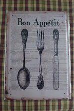 Bon Appetit Metal Sign Painted Poster Wall Decor Art Home Shop Pub Club Canteen