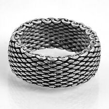 Sterling Silver Womans Mesh Ring Wholesale Pure 925 Wide Band Size 9 SDR7069