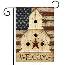 "Americana Welcome Garden Flag Primitive Patriotic 12.5"" x 18"""