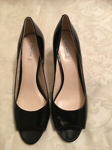 Cole Haan Grand Black Patent Leather Open Toe Pumps Heels Shoes 9 B