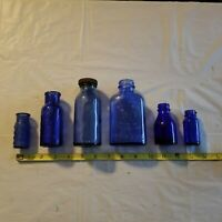 Vintage Blue Glass Medical Apothecary Bottle Lot of 6, Medical Collectible