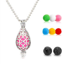 1X Square&Drop Essential Oil Diffuser Locket Pendant Necklace with 2 Lava Beads