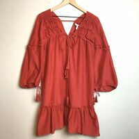 Derek Lam 10 Crosby Womens 2 Chili Red Ruffle Tassel Boho Dress Cotton Silk