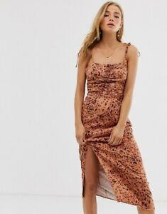 FREE PEOPLE Midi Dress Leopard Show Stopper Bodycon Stretch LARGE UK 16-18