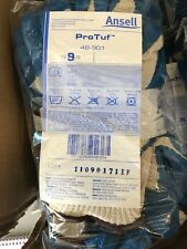 12 Pairs Ansell 48-301 ProTuf™ Gloves Nitrile Coated Palm Dipped Size 9, NOS