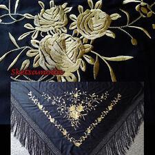 flamenco embroidered shawl / manton / scarf / piano Black Gold/ Medium