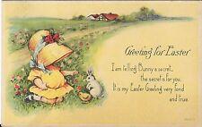 Antique Postcard Greeting for Easter, Bonnet Girl, Trademark Birgman 2680/2