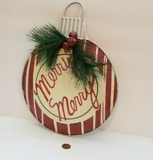 Merry Merry Christmas Ornament Shape Round Metal Home Decor Wall Hanging Sign