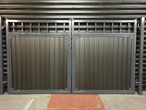 WROUGHT IRON DOUBLE DRIVEWAY GATES ANTHRACITE GREY SPECIAL ALUMINIUM/COMPOSITE