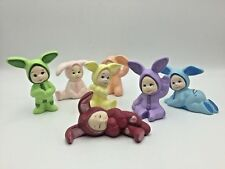 7 Vintage Ceramic Figurine Lot Children in Bunny Rabbit Suits Pastels Easter