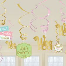 Happy Birthday Hanging Party Swirl Decorations Gold Foil Script Pretty Pastels