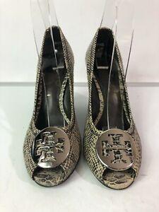 Tory Burch Julianne Snakeskin Peep Toe Wedge Heels Size 7.5