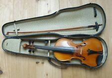Alte Geige zum Herrichten mit wunderschönem Geigenkasten und Bogen