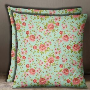 Decorative Square Floral Cushion Cover Green Cotton Poplin Pillow Case 1 Pair