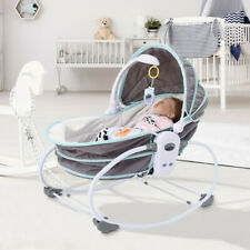 Baby Portable 5 in 1 Rocking Bassinet Multi-Functional Crib w/ Canopy Music Toys
