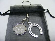 1958 Lucky Sixpence & Horseshoe Phone / Bag Charm - Nice Birthday Gift