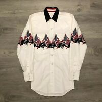 Cumberland Outfitters Mens Western Shirt Horses US Flag Print Pearl Snap Size S