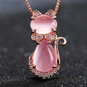 Rose Gold Lovely Cat Ross Quartz Necklaces Xmas Gifts For Her Daughter Mum Women