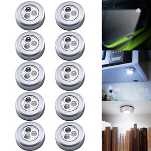 10x 3 LED TOUCH SELFADHESIVE LIGHT Bright White Battery Operated Push Night Lamp