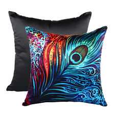 Peacock Feather Printed Cushion Cover Throw Pillow Case Home Decor Square NE