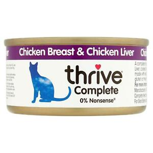 thrive Wet Cat Food Chicken & Liver, 100% Natural Complete Tin - Real Meat - 75g