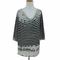 Michael Stars Original Tee Size M L One Size Fits Most Stripe Mid Sleeve Shirt