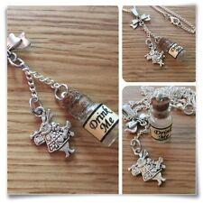 Alice In Wonderland Mini bebida me Botella Bow & Conejo Blanco Collar V2