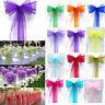 10/50/100 Pcs Organza Chair Cover Sash Bow Wedding Party Reception Banquet Decor