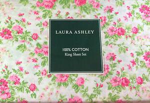 Laura Ashley King Size Cottage Chic Floral Sheet Set Natalie  Cotton Pink/Green