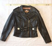 harley-davidson womens real leather jacket with embossing size medium ca 03402