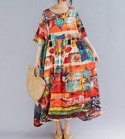 Floaty Orange Oversized Floral abstract cotton ARTY boho Summer Hippy dress 14
