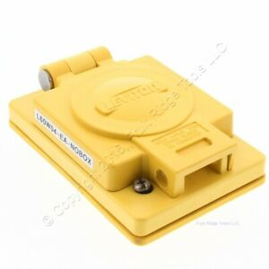 Leviton Yellow Wetguard Flip Cover for 20A Locking Receptacle Outlets Bulk 60W04